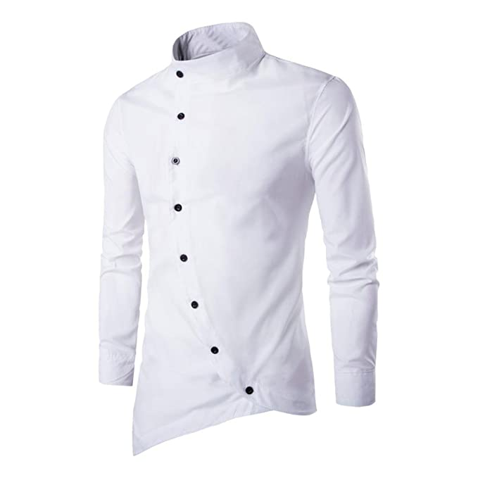 Dettagli su Camicia Uomo Casual Basic Lino Collo Alla Coreana Manica Lunga Slim Fit Bianco