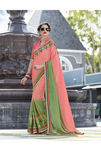Wedding Indian Pink Traditional amp; Women Party Facioun 119 Sari Designer Da Sarees Light Green For Ethnic Wear 5XqvO