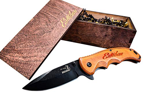Engraved Groomsmen Box Gift- Personalized Knife & Wooden Boxes- Custom Pocket Knives- Groomsman Set Husband Hunting Man Mens Boyfriend Wedding Gifts Folding Blade Rustic Wood Knifes Spring Assist Open