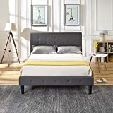 Cambridge Upholstered Platform Bed | Headboard and Metal Frame with Wood Slat Support | Grey, King