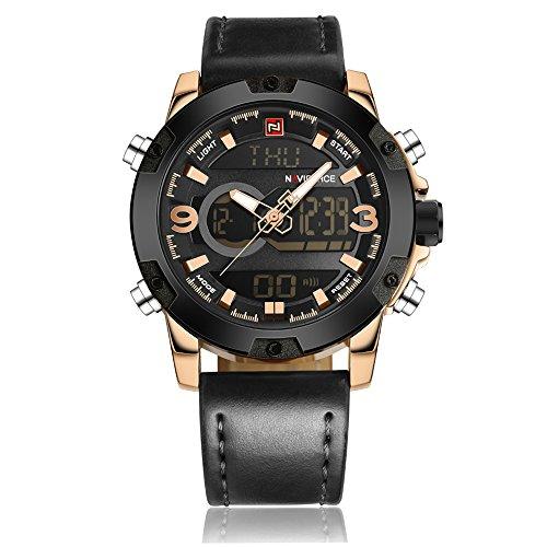 NAVIFORCE Original LED Multi-Function Men s Sports Casual Waterproof Leather Week Date Wrist Watch 9097