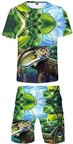 [해외]URVIP Men`s Romper Fish Printed Summer Overalls Outfits Set Tops and Shorts Fish-16 M / URVIP Men`s Romper Fish Printed Summer Overalls Outfits Set Tops and Shorts Fish-16 M