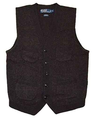 Ralph Lauren Wool Vest (Polo Ralph Lauren Mens Sweater Cardigan Cargo Wool Alpaca Vest Grey Red Small)