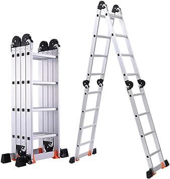 DD 2.8+2.8M Escalera Telescópica Aluminio Formas Múltiples, Extensión Extensión Escalera Portátil, Para el Hogar Loft Exterior EN131 Certificado: Amazon.es: Bricolaje y herramientas