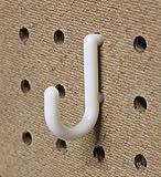 WallPeg Hook Kit - 100 J Pegboard Hooks Tool Storage Garage Organizer Choice B/W (100, White)