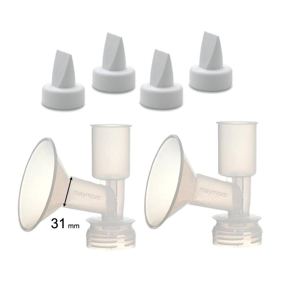 Non-Insert, One-piece Medium Flange Kit for Ameda Purely Yours, Ultra Breastpump (Flange 28mm), with Duckbill; Made by Maymom