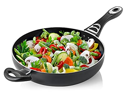 Chef's Star Professional Grade Aluminum Non-stick 11 Inch Jumbo Cooker / Saute Pan / Deep Frying Pan with Glass Lid - 4.6 Quart - Dishwasher Safe