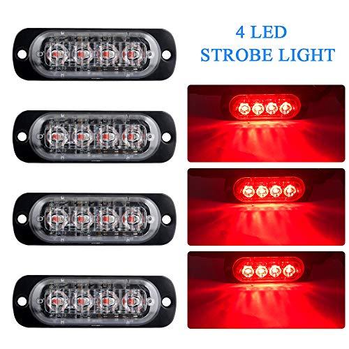 4pcs Ultra Thin 4 LED Red Warning Emergency light Flash Caution Strobe Light Bar Surface Mount Beacon for Car Vehicle Truck Trailer Caravan Van Motorcycle 12-24V