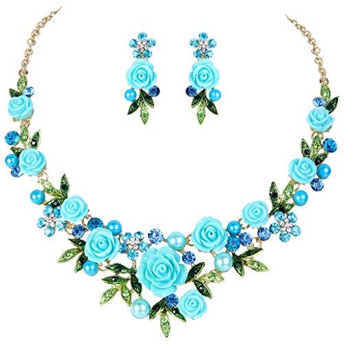 light blue crystal necklace - 5