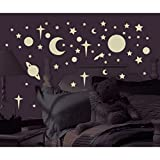 258 New Glow in the Dark STARS SUNS PLANETS WALL DECALS Kids Bedroom Stickers:New free shipping by WW shop