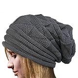 Tuu Women Warm Knit Beanie Thick Winter Beanie Hat Caps (Gray)