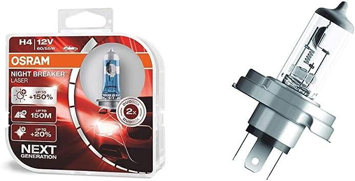 Osram Night Breaker Laser H4 Next Generation 150 Mehr Helligkeit Halogen Scheinwerferlampe 64193nl Hcb 12v Pkw Duo Box 2 Lampen 64183 Original R2 12v 1 Lampe Auto