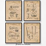 Original Fender Guitar Patent Art Poster Prints - Set of 4 (Four 8x10) Unframed Vintage Style Pictures - Great Wall Art Decor Stringed Musical Instrument Gifts for Musician, Man Cave, Garage, Office