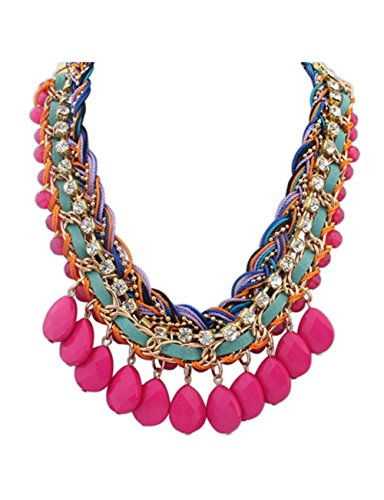 LINJIE JEWELRY Bohemian Statement Necklaces for Women Fashion Jewelry Gold Chain Statement Choker Necklace (Pink) ()