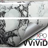 "Black White Veined Marble Gloss Vinyl Architectural Wrap for Home Office Furniture Wallpaper Tile Sheet 24"" x 6.5ft Roll (24"" x 6.5ft 1 roll)"
