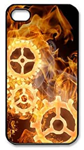 Wheels On Fire Custom Case and Cover Compatible with iPhone 4/4S Polycarbonate Black