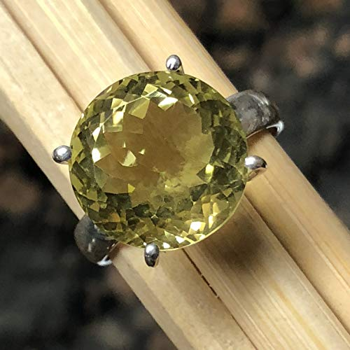 (Natural 8ct Lemon Topaz 925 Solid Sterling Silver Solitaire Ring sz 7)