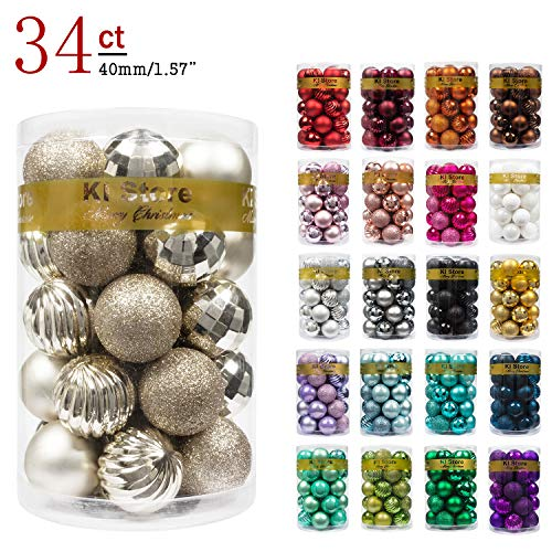 "KI Store 34ct Christmas Ball Ornaments Shatterproof Christmas Decorations Tree Balls Small for Holiday Wedding Party Decoration, Tree Ornaments Hooks Included 1.57"" (40mm Champagne)"
