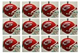 """Kansas City Chiefs Set of 12 Holiday Christmas Tree Ornaments Featuring Chiefs Team Ornaments Ranging from 1.5"""" to 2"""" Tall"""