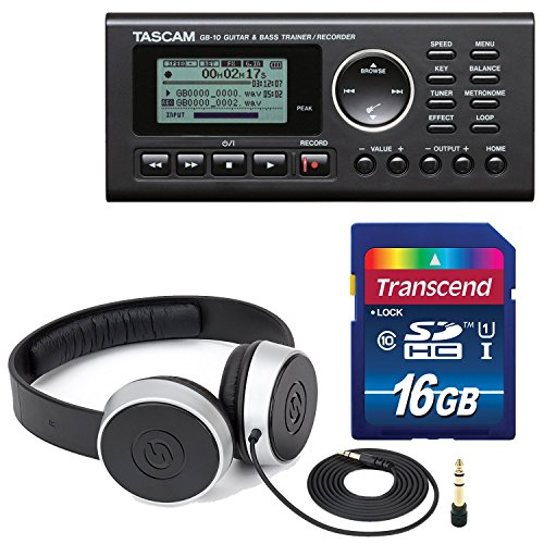 tascam-gb-10-usb-guitar-bass-trainer-recorder-along-with-samson-studio-headphones-and-transcend-sdhc
