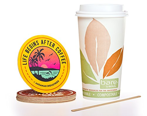Solo Bare 16 oz Compostable Eco-Friendly Hot Paper Coffee Cup Bundle (Set of 100 Cups) - Cup, Lid, Stir Stick, and Coaster by Andaman
