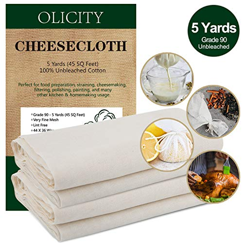 Olicity Cheesecloth, Grade 90, 45 Square Feet, 100% Unbleached Cotton Fabric Ultra Fine Muslin Cloths for Butter, Cooking, Strainer, Baking, Hallowmas Decorations (5 Yards) -