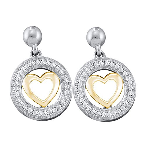 Circle Heart Diamond Earrings Gold (10kt Two-tone Gold Womens Round Diamond Circle Heart Dangle Earrings 1/5 Cttw)