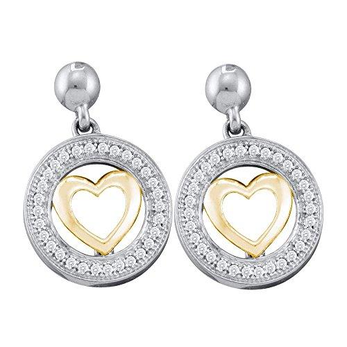 Roy Rose Jewelry 10K Two-tone Gold Womens Round Diamond Circle Heart Dangle Earrings 1/5-Carat (Diamond Gold Circle Heart Earrings)