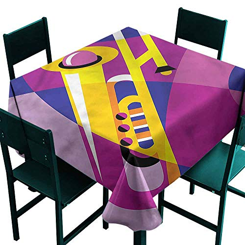 DONEECKL Dust-Proof Tablecloth Trombone Pop Art Groovy Jazz Music Table Decoration W36 ()