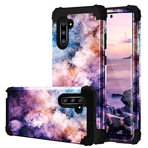 Fingic Samsung Note 10 Case, Galaxy Note 10 Case 3 in 1 Heavy Duty Protection Hybrid Hard PC Soft Silicone Rugged Bumper Anti Slip Full-Body Shockproof Protective Case for Galaxy Note 10, Nebula Black (Best Protective Case For Galaxy Note 3)