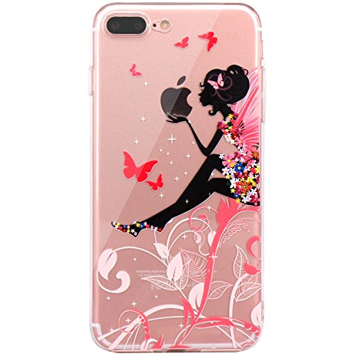 iPhone 7 Plus Case, iPhone 8 Plus Case, JAHOLAN Beautiful Clear TPU Soft Case Rubber Silicone Skin Cover for Apple iPhone 7 Plus/iPhone 8 Plus - Flower Fairy
