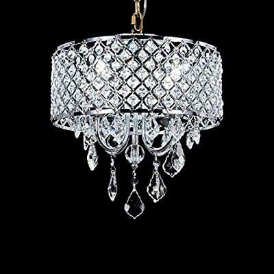 Broadway Silver Classic Crystal Chandeliers Modern Lamps Pendant Light Ceiling Fixture BL-AJA/S4 W14 X H14 Inch