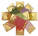 DEVIKA Premium Shagun Gift Envelope for Cash (10+2free) 7.5' x 3.5' Peacock Feather Gold Silver Foil Stamping Assorted Color Money Holder Card for Christmas Diwali Birthday Wedding Graduation DGE1-12