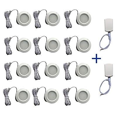 12v-LEDlight Power-saving Recessed Mount White Ceiling Light Fixture - Indoor Porch Hallway Kitchen Entryway Garage Basement LED Lighting, 3w, Soft Warm White, Pack of 12 with Block & Bonus