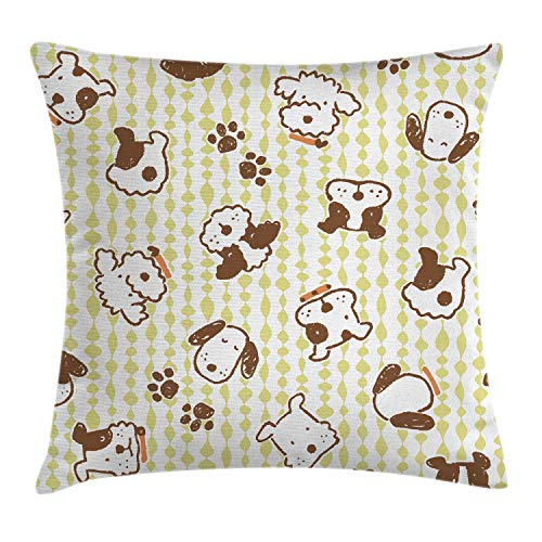 Lunarable Dog Throw Pillow Cushion Cover, Modern Pattern with Puppy Dogs and Paws Doodle Style Design Pet Animal Print, Decorative Square Accent Pillow Case, 36