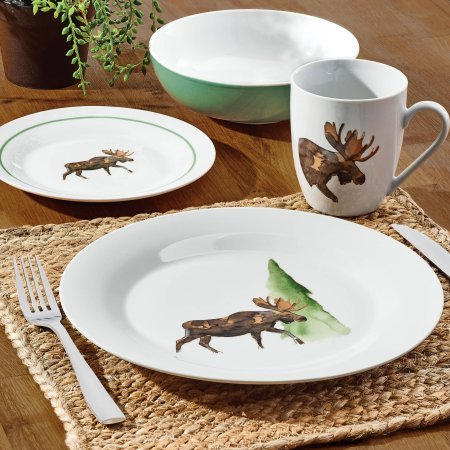 Cheap Dinner Set 16-Piece Made of Porcelain Service for 4, Moose