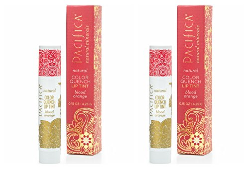 Pacifica Blood Orange Color Quench Lip Tint (Pack of 2) with Coconut Oil, Soy Wax, Candelilla Wax, Cocoa Seed Butter, Avocado Oil and Rosemary Leaf Extract, 100% Vegan and Gluten-free, - And Tints Shades Color