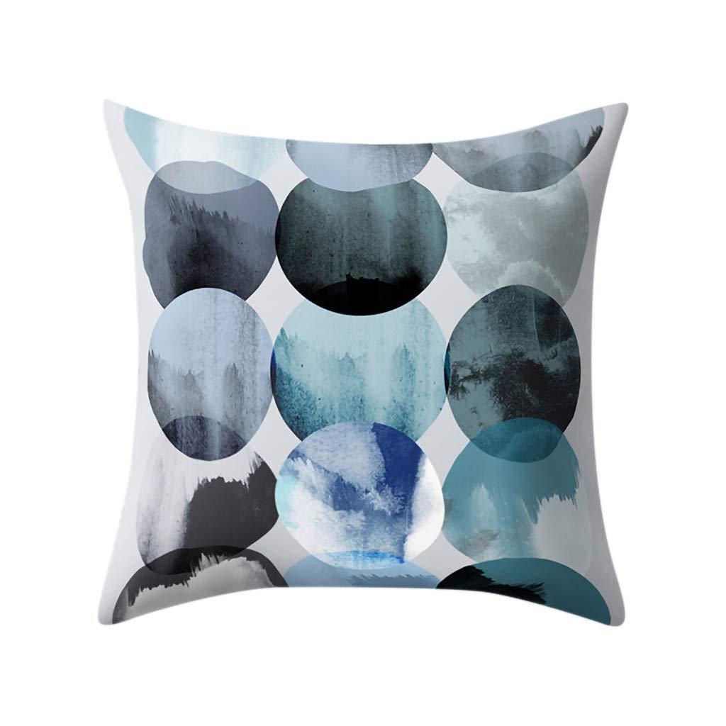 Psunrise La Almohada Geometric Polyester Cozy Pillowcase Cushion Cover Square Pillowcase Home Decoratio(45x45 cm, Multicolor C)