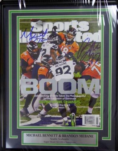 Michael Bennett & Mebane Autographed Framed Sports Illustrated Sb Mcs 123673 Autographed NFL Magazines