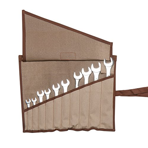 Eximius Ex 0205 Wrench/Tool Roll 10+ Pockets of 100% Dyed and sand Washed Cinnamon Brown 15 Oz Cotton Canvas by EXIMIUS