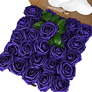 Breeze Talk Artificial Flowers Purple Roses 50pcs Realistic Fake Roses w/Stem for DIY Wedding Bouquets Centerpieces Arrangements Party Baby Shower Home Decorations (50pcs Purple)