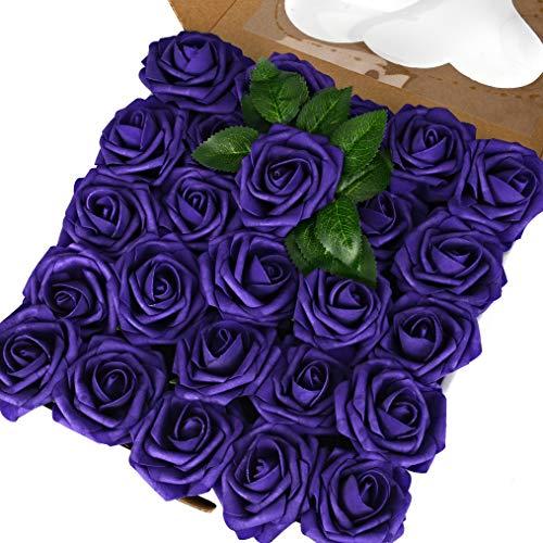 (Breeze Talk Artificial Flowers Purple Roses 50pcs Realistic Fake Roses w/Stem for DIY Wedding Bouquets Centerpieces Arrangements Party Baby Shower Home Decorations (50pcs Purple))