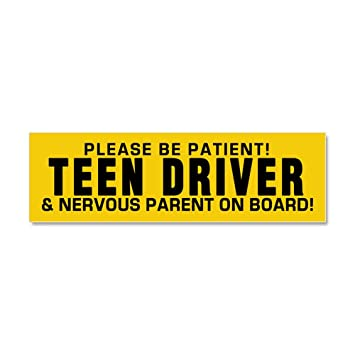 Cafepress teen driver and parent car magnet 10 x 3 magnetic bumper sticker