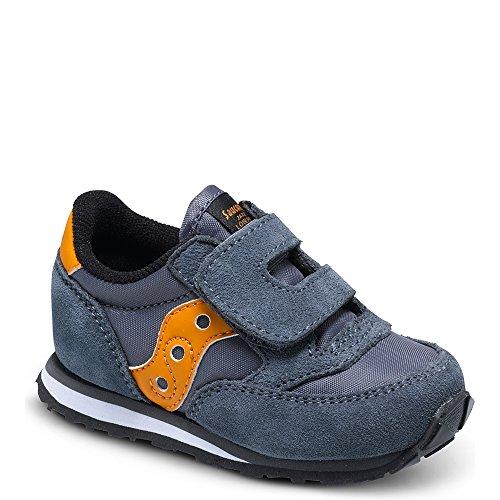 Saucony Jazz Hook & Loop Sneaker (Toddler/Little Kid), Grey/Orange, 7.5 M US Toddler