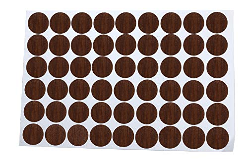 Mini Skater 1 Sheet/54Pcs 20mm Wooden Furniture Accessories Self Adhesive PVC Material Decoration Furniture Cabinet Screw Cap Covers Hole Stickers (Red Walnut) ()