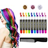 FRCOLOR Hair Chalk for Kids, 10 Color Temporary Hair Paint for Girls Washable Hair Chalk Hair Dye Hair Color Pens Christmas Birthday Gift Set Halloween Parties Present