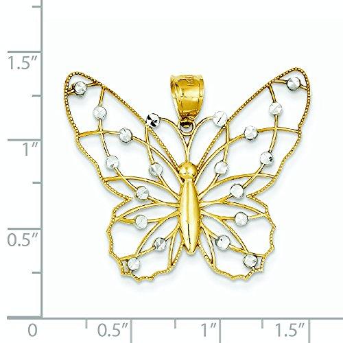 14 carats et Rhodium taille diamant pendentif Papillon-JewelryWeb