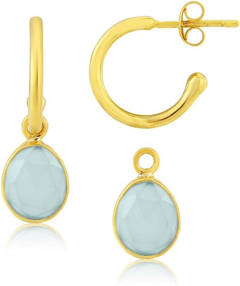 Aqua Chalcedony Interchangeable Gemstone Earrings