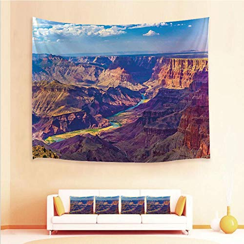 (iPrint 1pcs Hanging Tapestry and 4pcs Pillow case,Wall Hanging Blanket Beach Towels Picnic Mat Home Decor,Grand Canyon Activity of River Stream Over Rock,3D Printed Tapestry for Bedroom Living Room)
