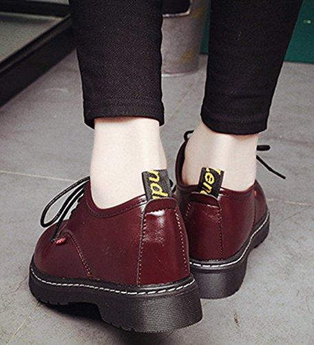 Idifu Womens Fashion Lace Up Oxford Bassi Tacchi Alti Scarpe Tacco Basso Chiuso Rosso Vino